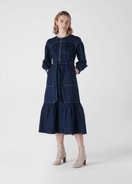 Hilde Tiered Denim Dress Dark Denim