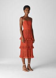Mini Leopard Pleated Dress Flame/Multi