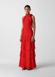 Marigold Tiered Maxi Dress Red