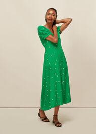 Romantic Floral Silk Dress