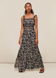 Jasmine Print Silk Skirt Black/Multi