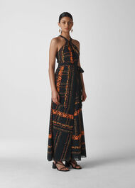 Paisley Scarf Maxi Dress Black/Multi
