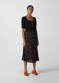 Micro Floral Longline Skirt Black/Multi
