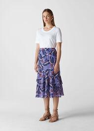 Josephine Print Frill Skirt Purple/Multi