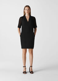 Lina Dobby Sleeve Dress Black