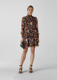 Clover Floral Silk Mix Dress Black/Multi