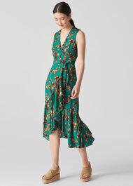Capri Print Wrap Dress Green/Multi