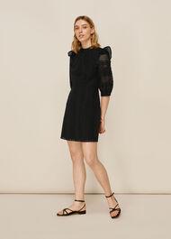 Frill Broderie Dress Black