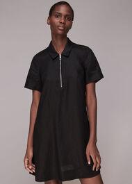 Zip Front Linen Dress