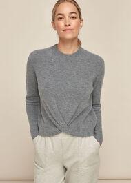 Twist Front Wool Cashmere Knit