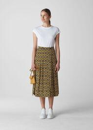Zig Zag Print Wrap Skirt Yellow/Multi