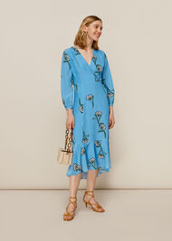 Sprig Flower Silk Dress Blue/Multi