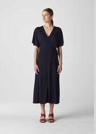 Spot Wrap Jersey Dress Navy/Multi