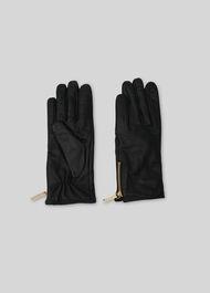 Zip Detail Leather Glove Black