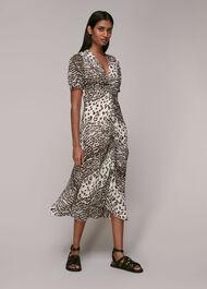Jaguar Print Ruched Midi Dress