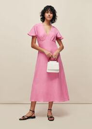 Frill Sleeve Midi Dress Pink