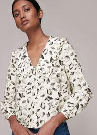 Sea Shell Print Collar Top