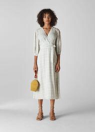 Catalina Check Wrap Dress White/Multi