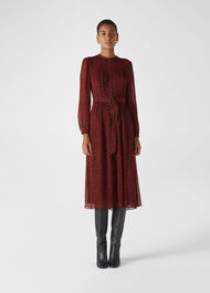Bethany Mini Ikat Belted Dress Red/Multi